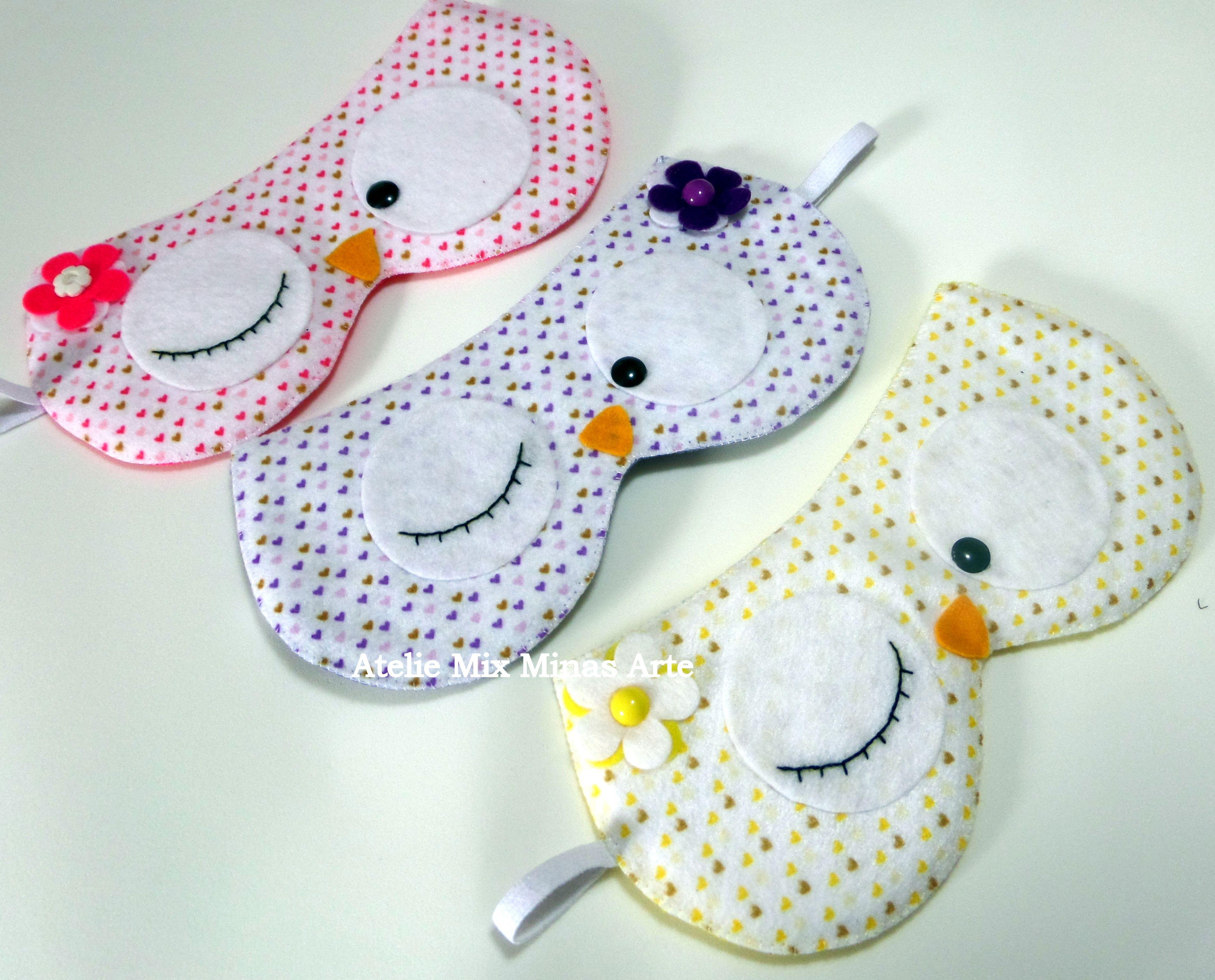 020c8aa3a65789 Mascaras para dormir Corujas. Confeccionadas em feltro. | páska pres ...