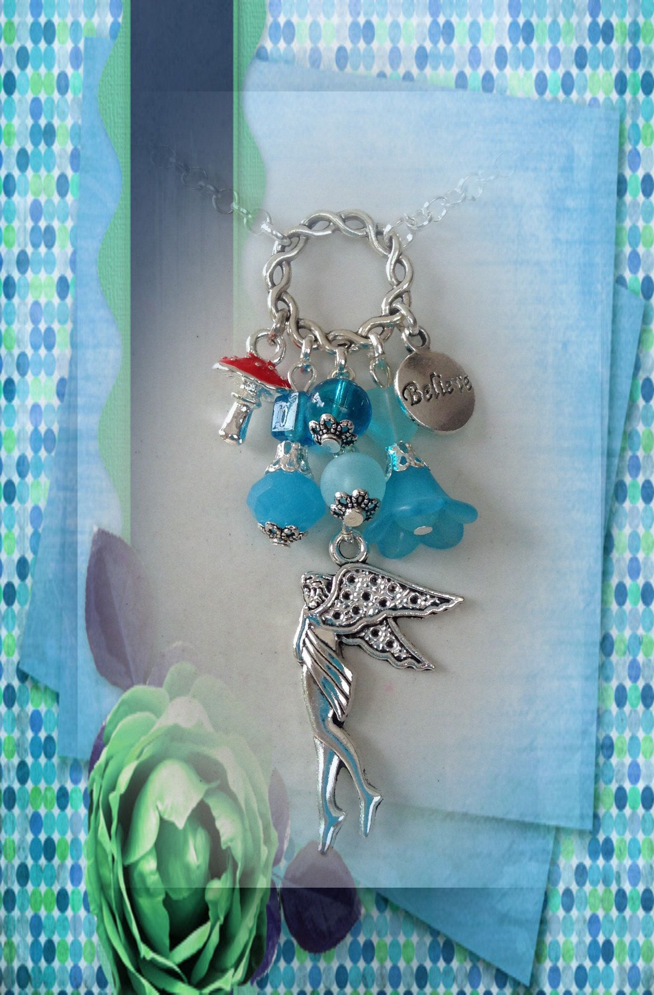 "16/"" Silver Red Toadstool Choker Necklace Glass Bead Pendan Tibetan Style"