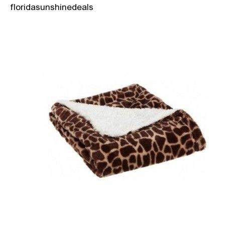 Giraffe Throw Blanket Bed Sofa Couch Afghan Brown White Animal Print Custom Giraffe Print Throw Blanket