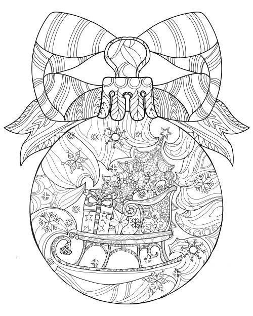 Christmas Ball With Sleigh Christmas Coloring Pages Coloring Pages Christmas Colors