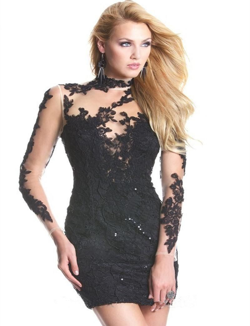 sexy mermaid long sleeves high neck lace appliques zipper tulle