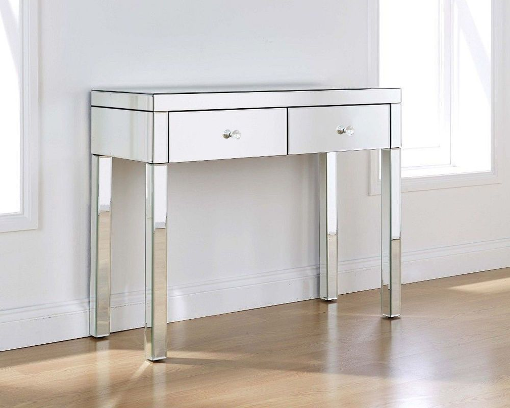 Glass Dressing Table Mirrored Make-up Desk 2 Drawers Console Black//White Stool