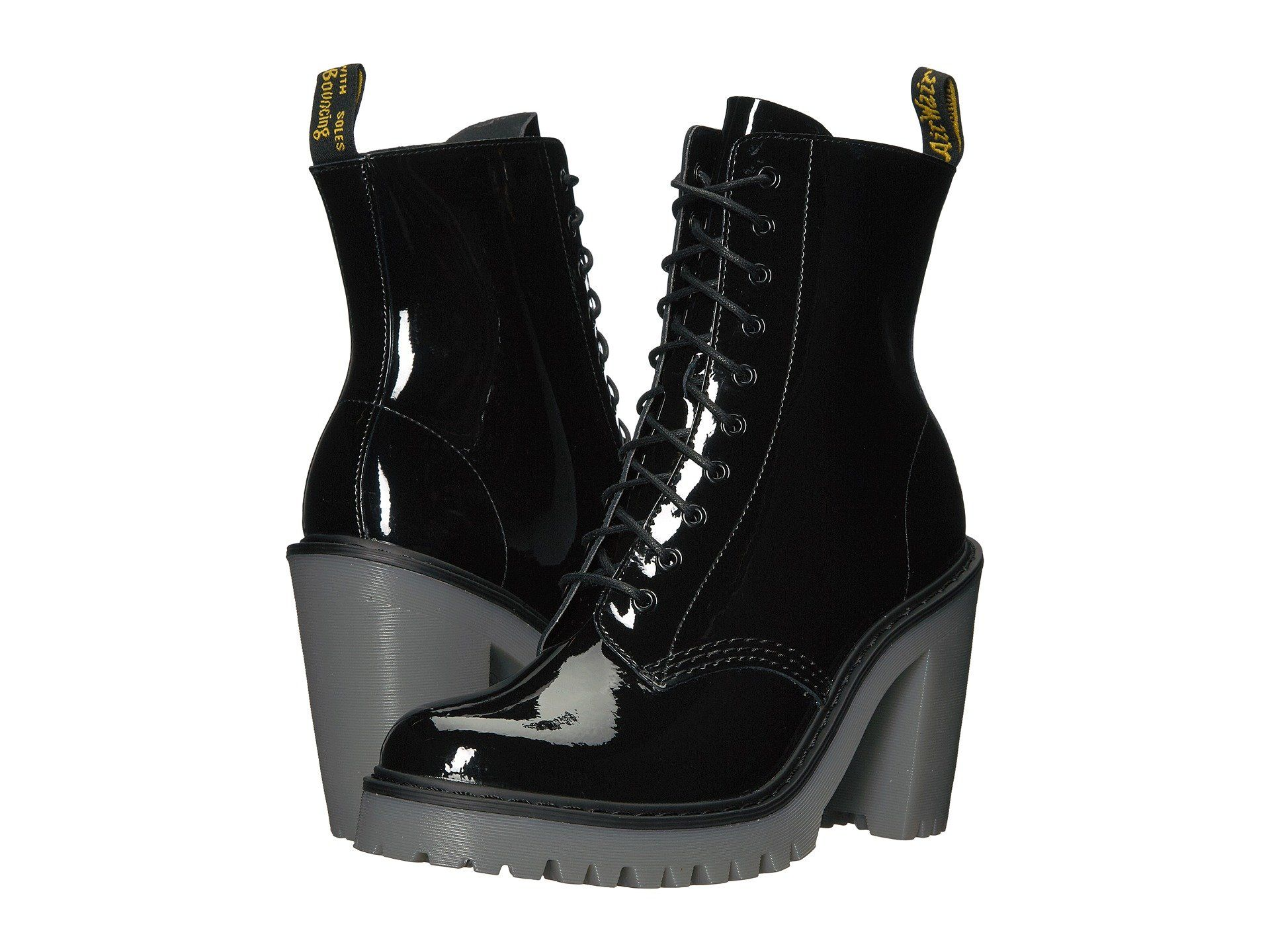 patent leather boots, Black high heel boots