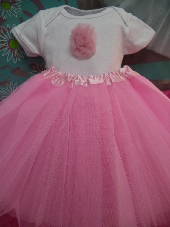 Baby One piece and Tutu Outfit  Pink tutu by RaRasRuffleBoutique