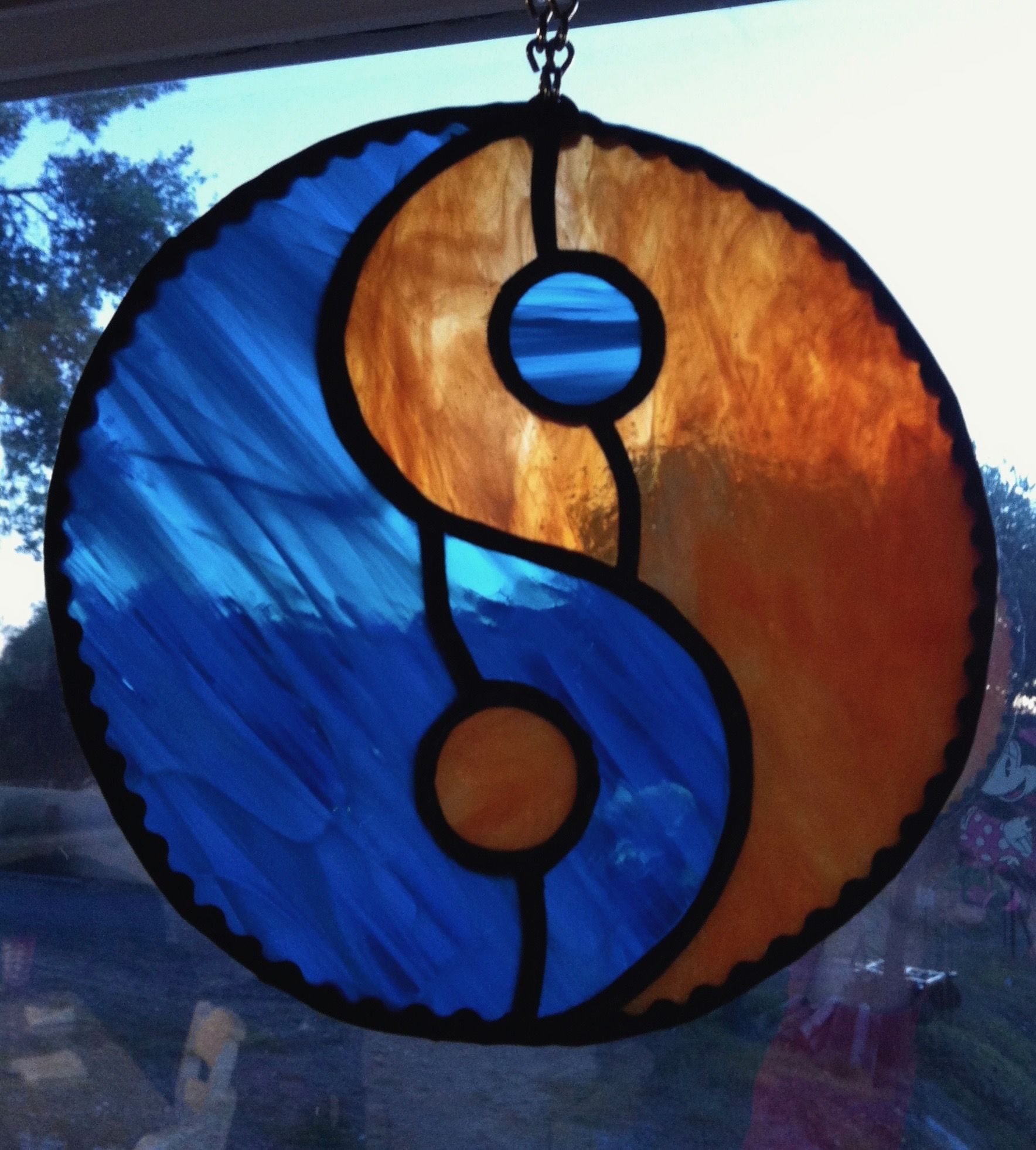 Yin Yang trees stained glass panel