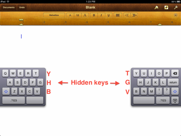 Type Faster On The Ipad S Split Keyboard With Six Hidden Keys Keyboard Hidden Key How To Read Faster