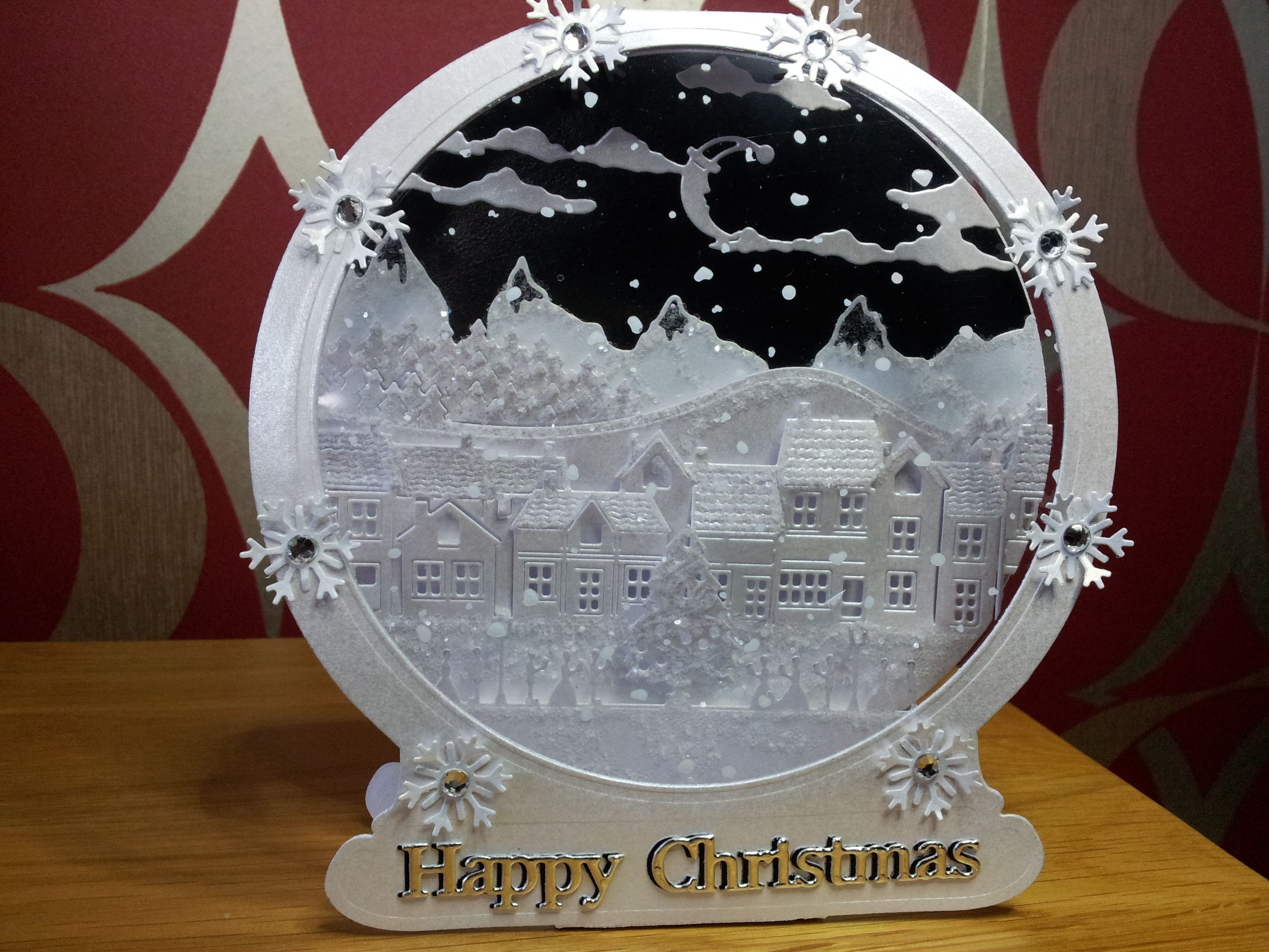Tattered Lace Snow Globe Christmas cards to make