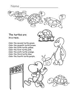 Here S A Quick Assessment On Ordinal Numbers Color The Turtles According To Their Position Kindergarten Math Kindergarten Math Worksheets Free Ordinal Numbers
