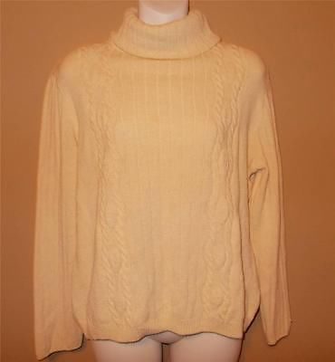 St John Sport Marie Gray Cable Knit Turtleneck Sweater Signature Sleeve Small