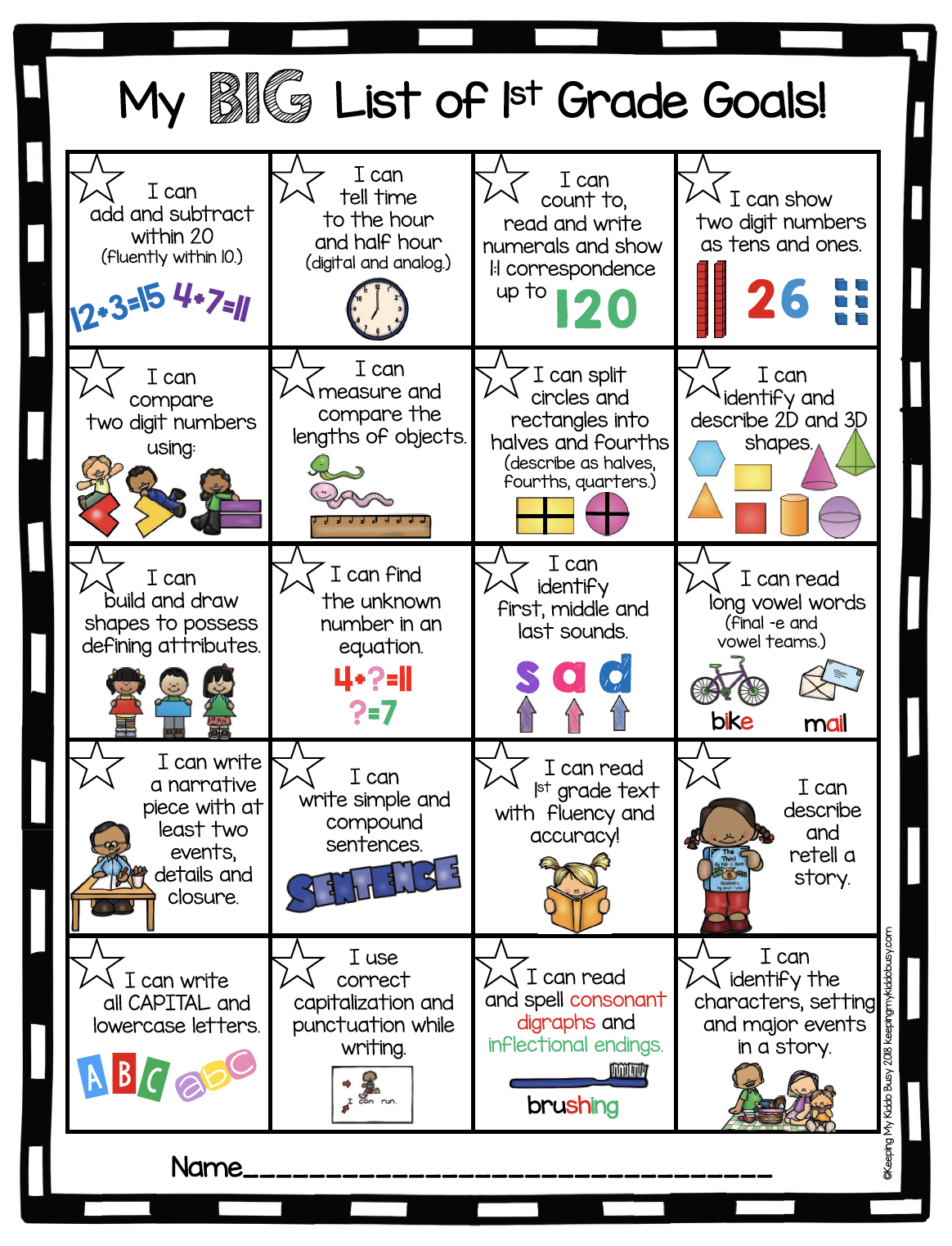 First Grade Goals And Awards