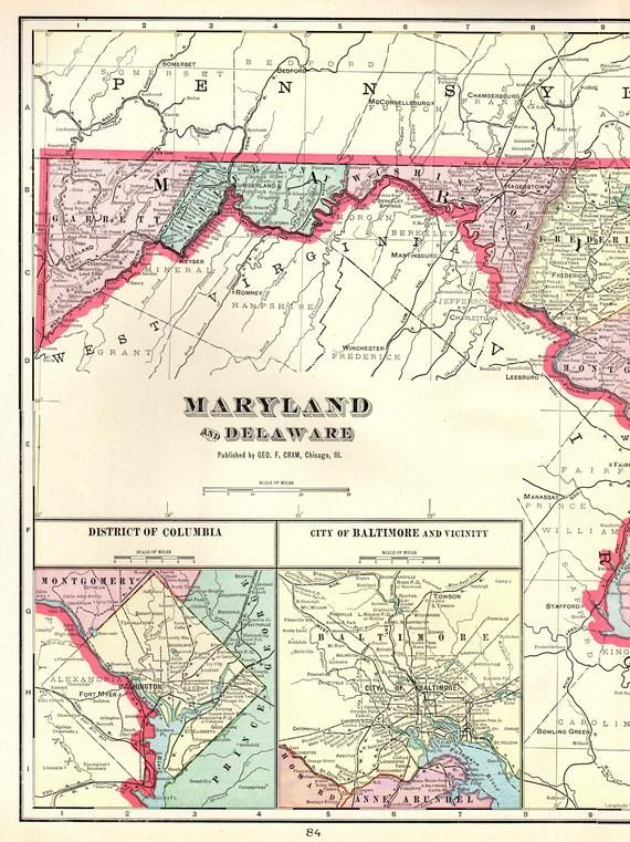 1904 Antique MARYLAND Map of Maryland State Map of Delaware ...