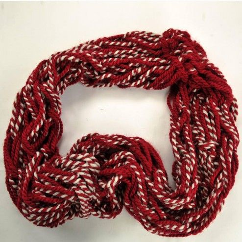 Handmade Scarf - Handmade knitted scarf made of yarn in red and white color.