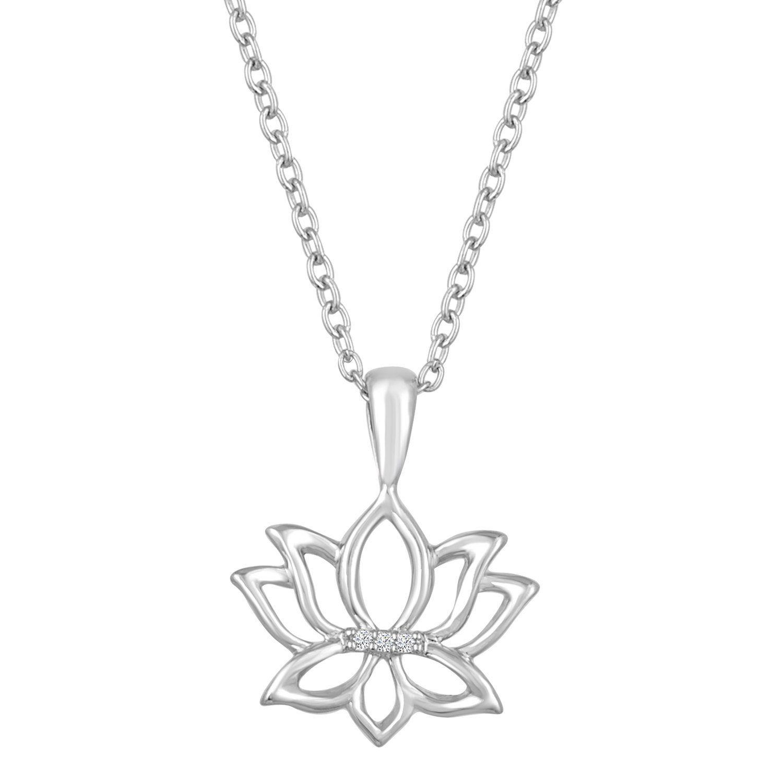 Diamond Accent Sterling Silver Lotus Flower Pendant 16 18