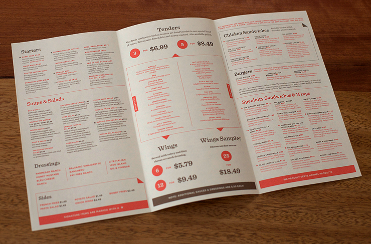 Take Out Menu For The Kickin En By Fuzzco