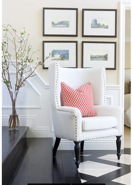 Great White Leather Chair With Studding Effect. Love This Whole Look