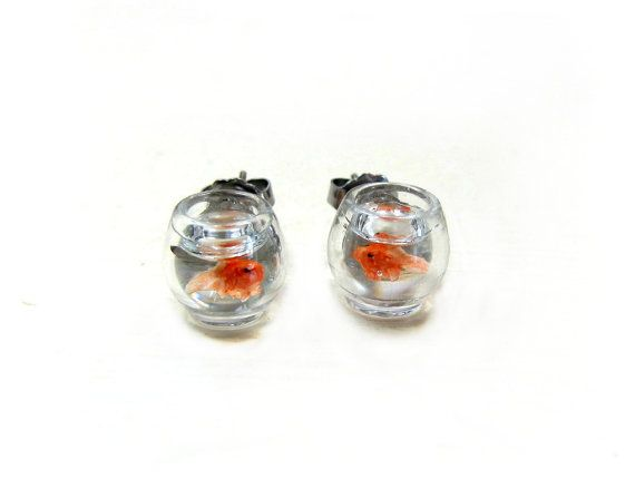 Goldfish Bowl Earrings Miniature Pet Gold Fish On By Cuteability 25 00