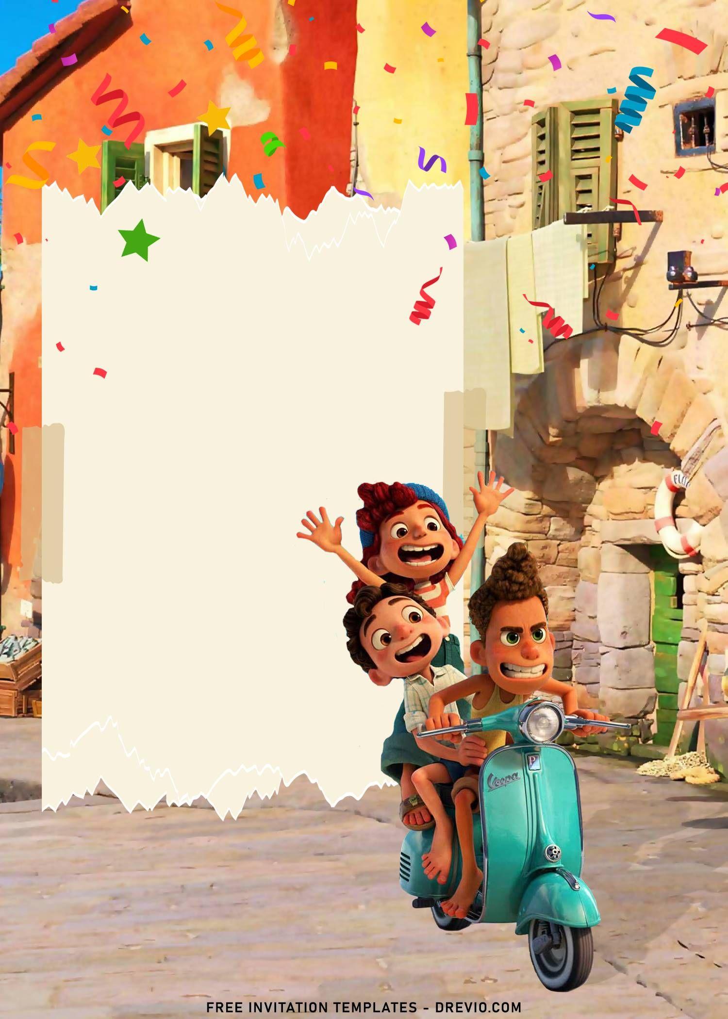 8 Disney Luca Birthday Invitation Templates For Your Kid S Birthday Party In 2021 Birthday Invitation Templates Birthday Invitations Free Printable Birthday Invitations