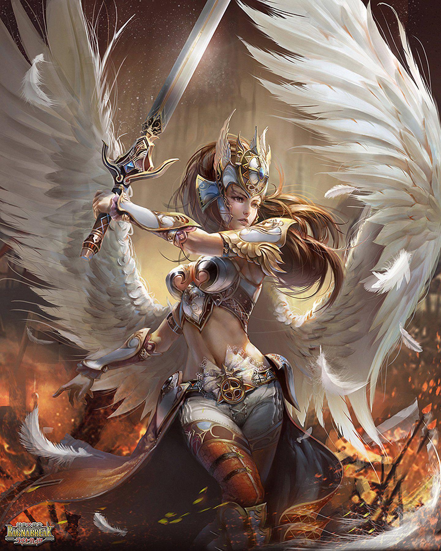 Beautiful Game Wings Girls Holding Sword Hd Wallpapers Jpg 1440 1800 Fantasy Art Game Illustration Fantasy Artwork