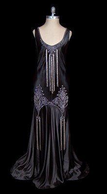 Circa 1930s black satin vintage gown