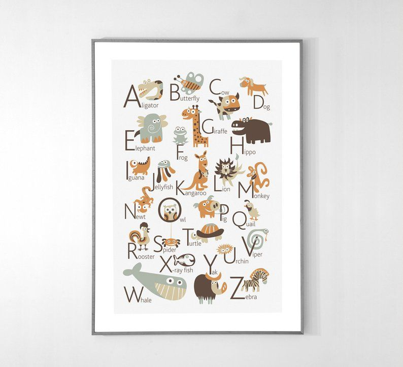 English Alphabet Poster With Animals From A To Z Big Poster 13x19 Inches Alphabet Poster Alphabet Animal Alphabet