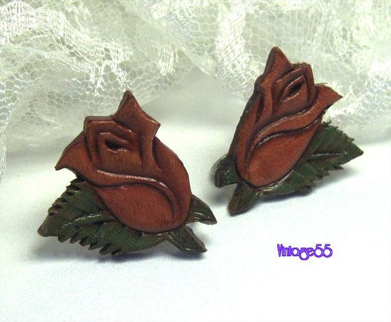 Vintage Earrings  Rose Leather  screw back by Vintage55 on Etsy, $12.00