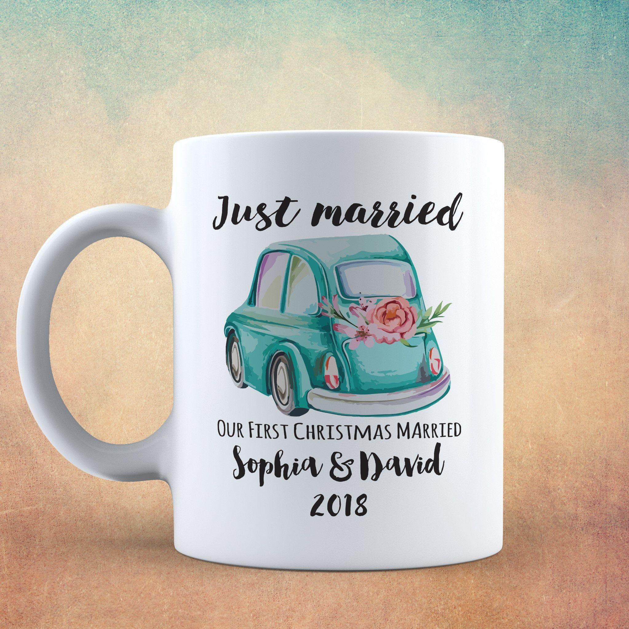 Just Married, First Christmas Mug Married, Wedding Christmas Mug Personalized names and year ...