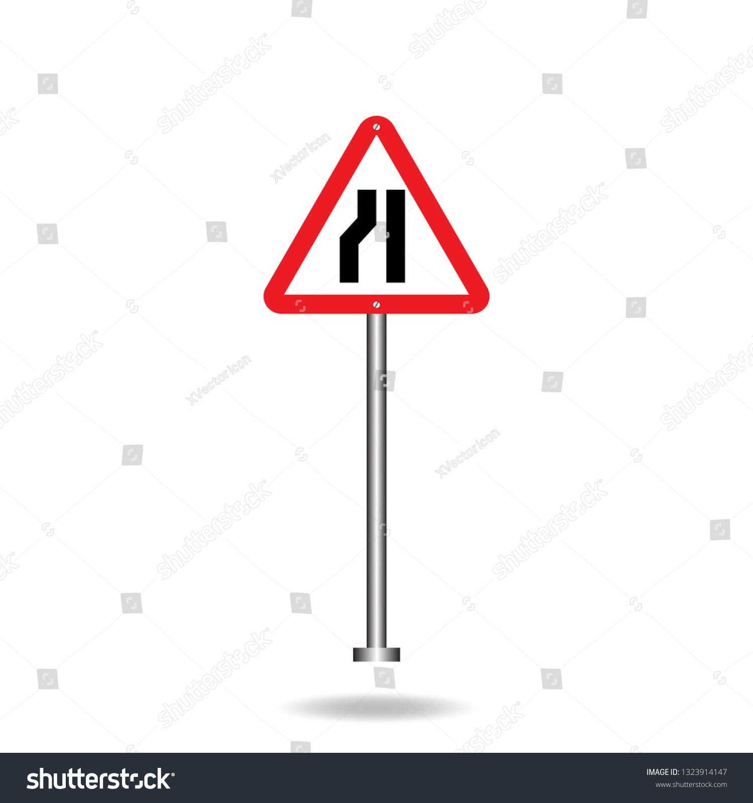 Narrow Left Traffic Road Sign Direction Vector On Steel Poles Flat Symbols Logo Illustration Isolated On White Backgro Traffic Signs Objects Design Symbol Logo