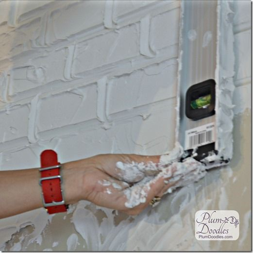Faux Bricks Using Drywall Mud Plum Doodles Faux Brick Faux Brick Walls Diy Brick Wall