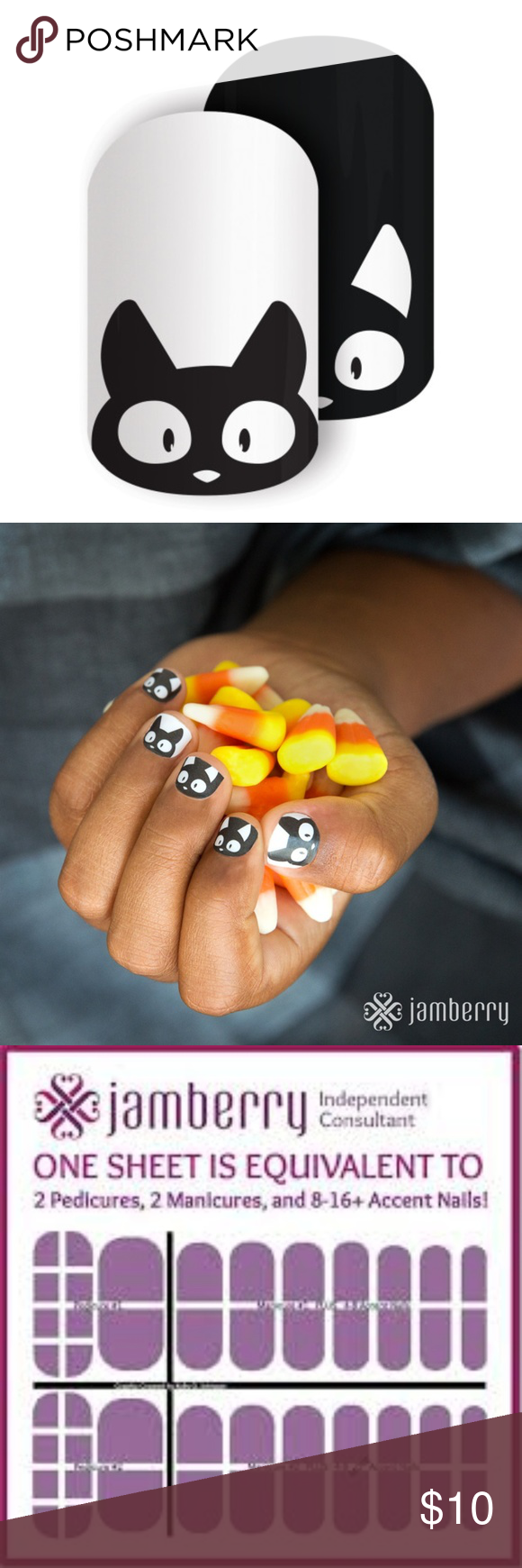 HALF SHEET Jamberry Double Trouble Cats Mixed Mani Mani
