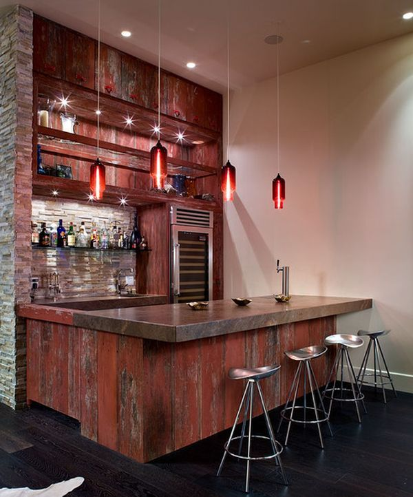 Barn Wood Bar: Idea For Basement Bar Remodel.