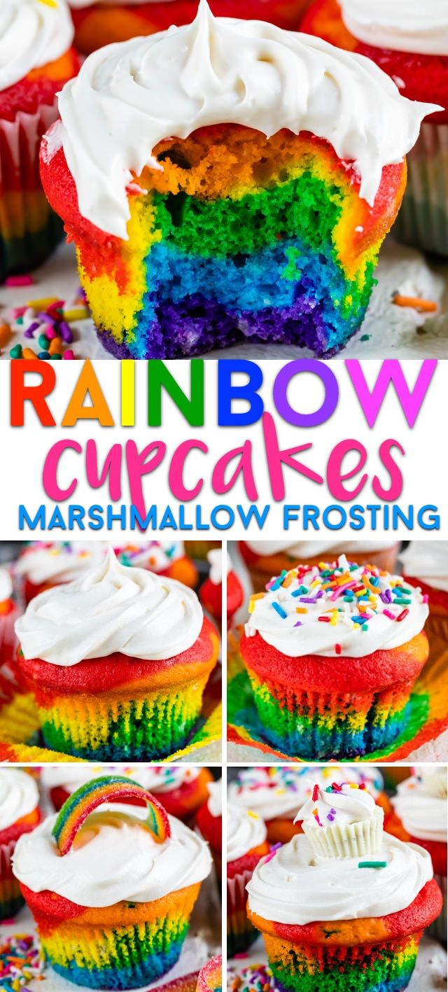Cupcake Topped Rainbow Cupcakes - Crazy for Crust