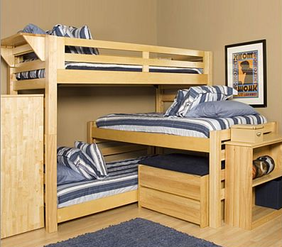 Triple Bunk Bed Plans With Some Storage Space And Shelving.