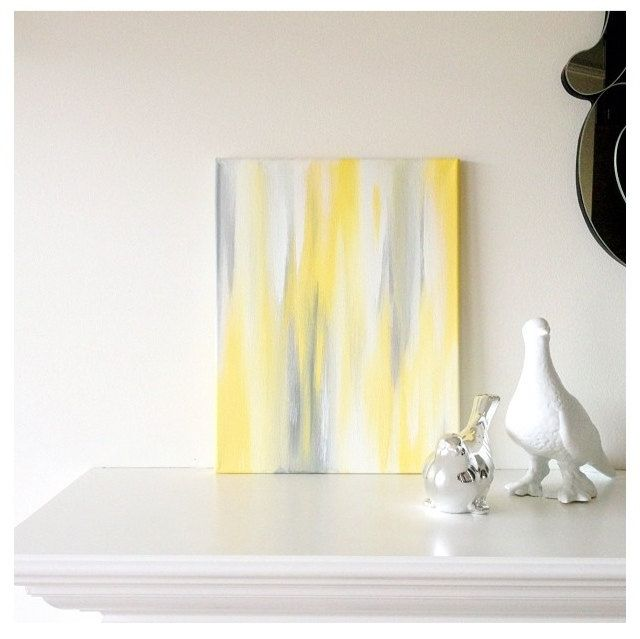 11x14 Canvas Painting- Ikat: Yellow & Grey. http://www.etsy.com ...