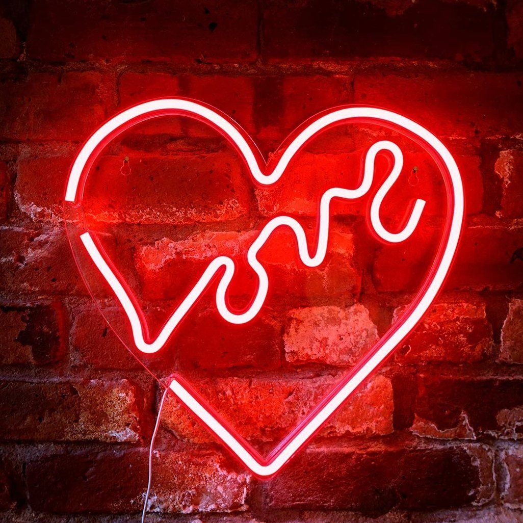 Neon Red Love Heart in 2020 Light wall art, Cheap neon