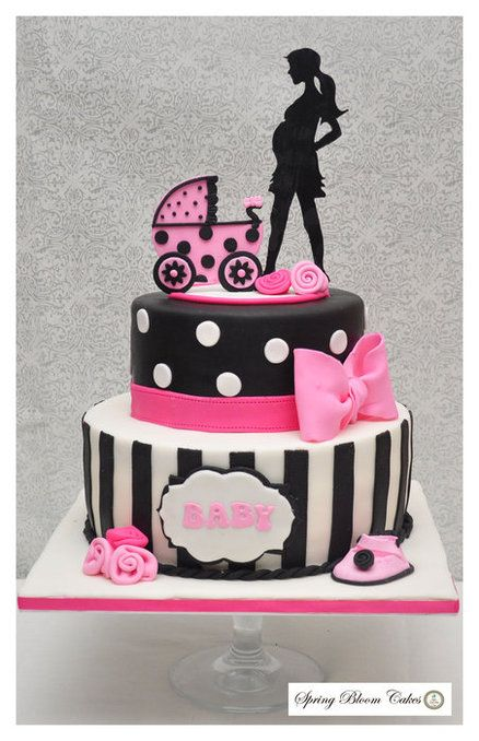 Pink And Black Baby Shower Cake By Springbloomcakes Cakesdecor