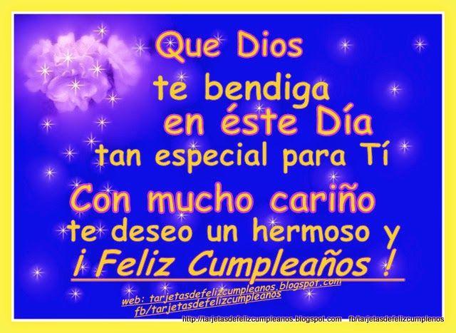 Tarjetas de Feliz Cumpleaños con Nombres 54 Que Dios te bendiga en este Día Tan especial