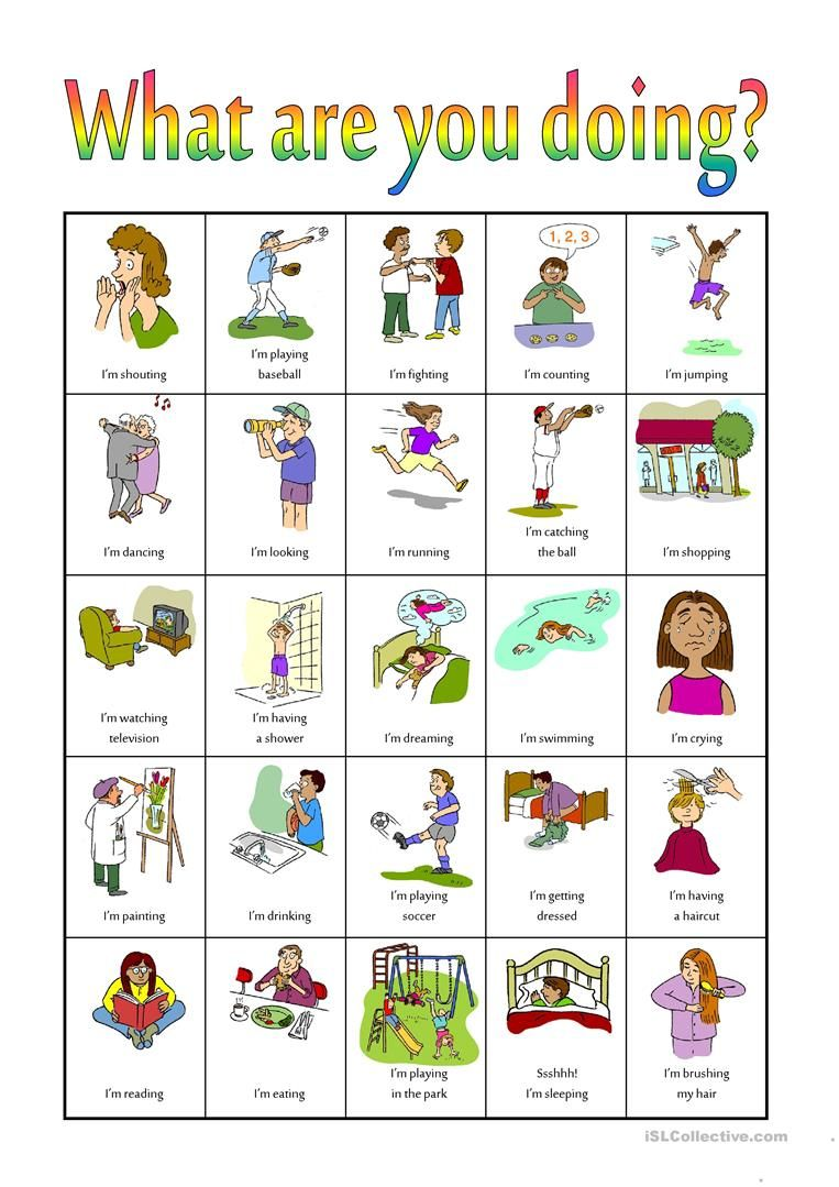 What are you doing? Bingo worksheet - Free ESL projectable ...