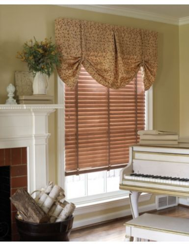 Smith Le Dakota Fabric Valance In Veranda Vine Brick 9930 Over Wood Blinds