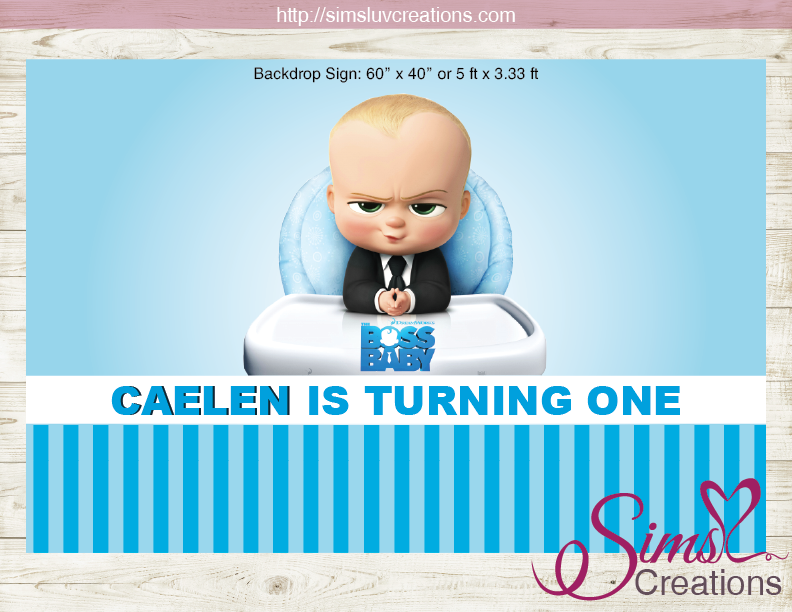 Boss Baby Printable Birthday Backdrop Banner Custom Photo Baby Birthday Poster Boss Baby Baby Birthday Banner