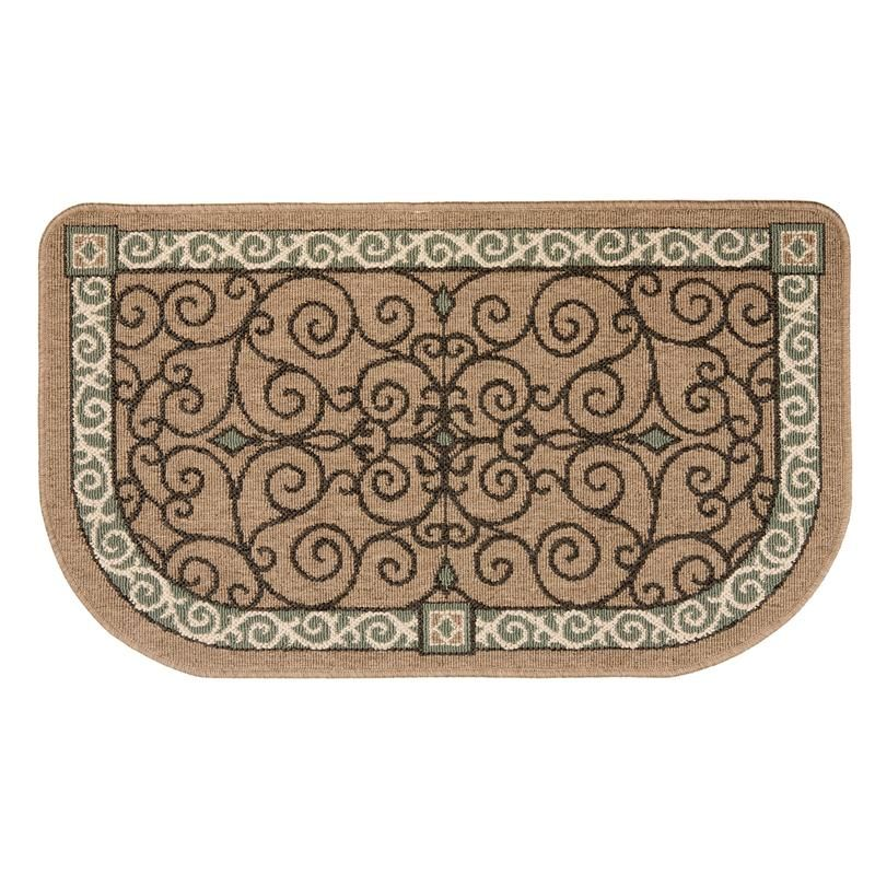Flame Resistant Hearth Rug Tan Scroll