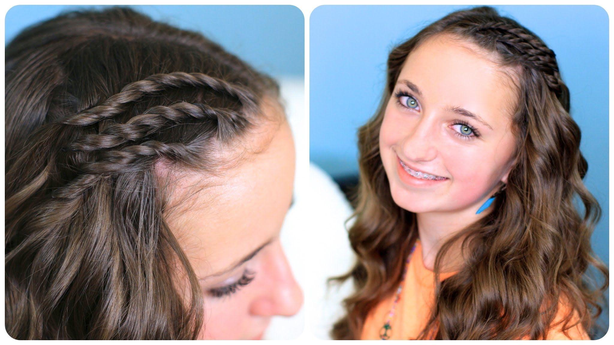 Triple lace side twists cute girls hairstyles