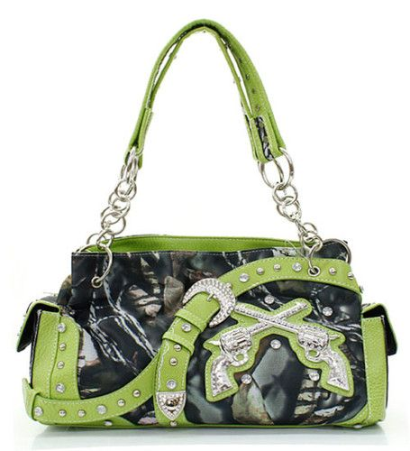 NEW! Lime Green Camo Camouflage Belted Double Pistol Gun Purse With Rhinestones!