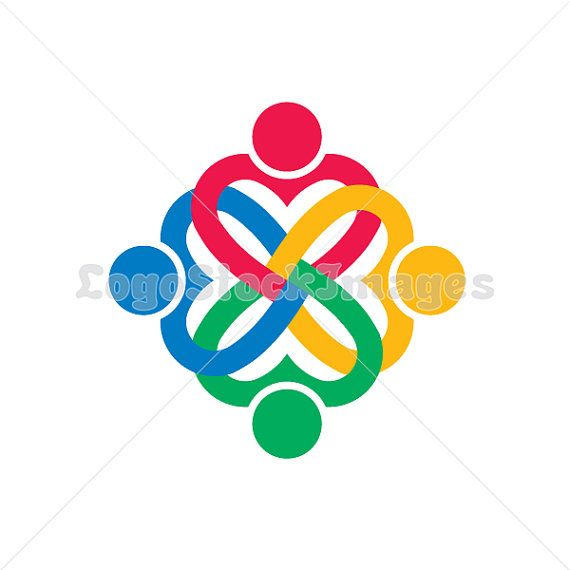 People logo four persons in heart shape clip art. Concept for a ...