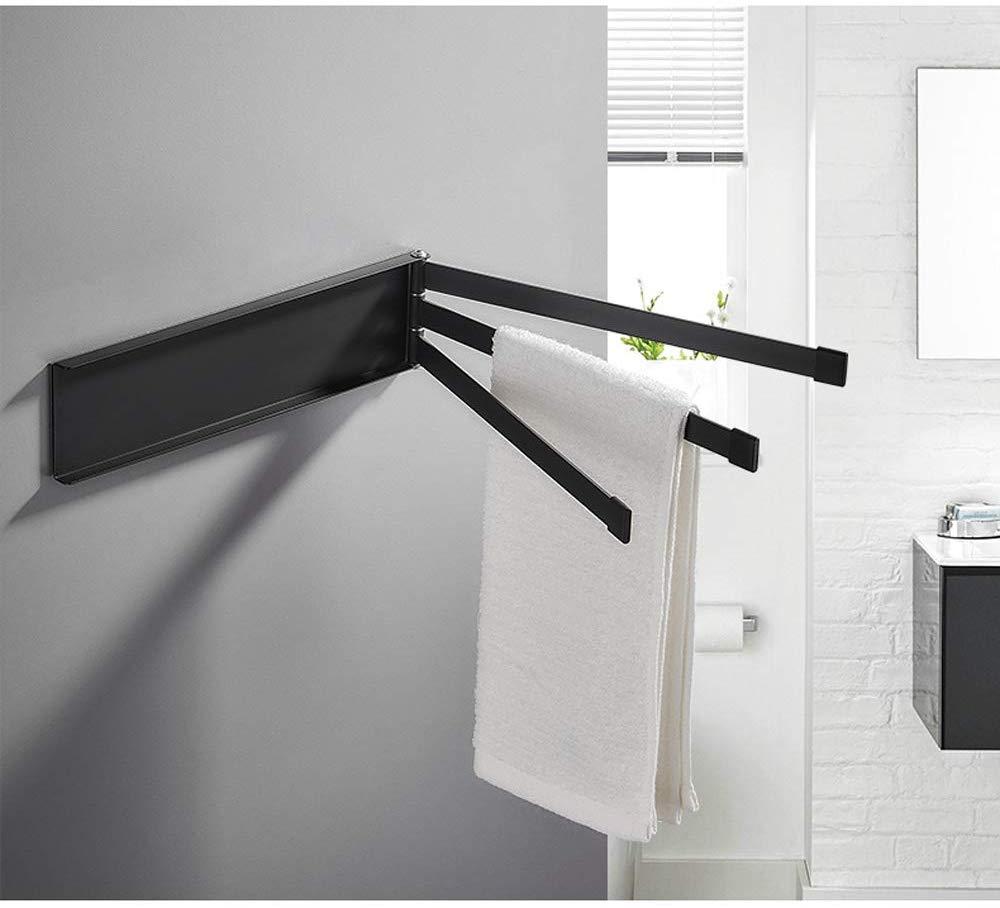 Amazon Com Swivel Towel Bar Adhesive Wall Mounted Towel Rod Rack With 3 Arm No Drill Towel Holder Storage Organizer Towel Bar Towel Rod Storage Organization