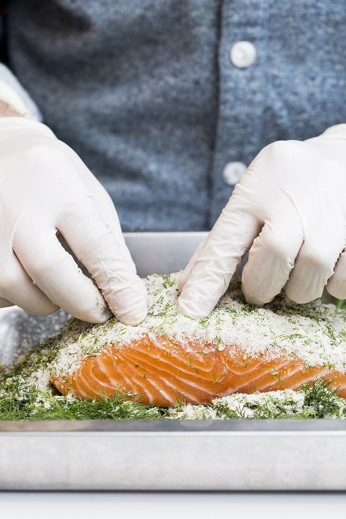 """Middle Child luncheonette co-owner Matt Cahn shows how """"easy"""" it is to cure salmon at home--creating gravlox in as little as twenty four hours."""