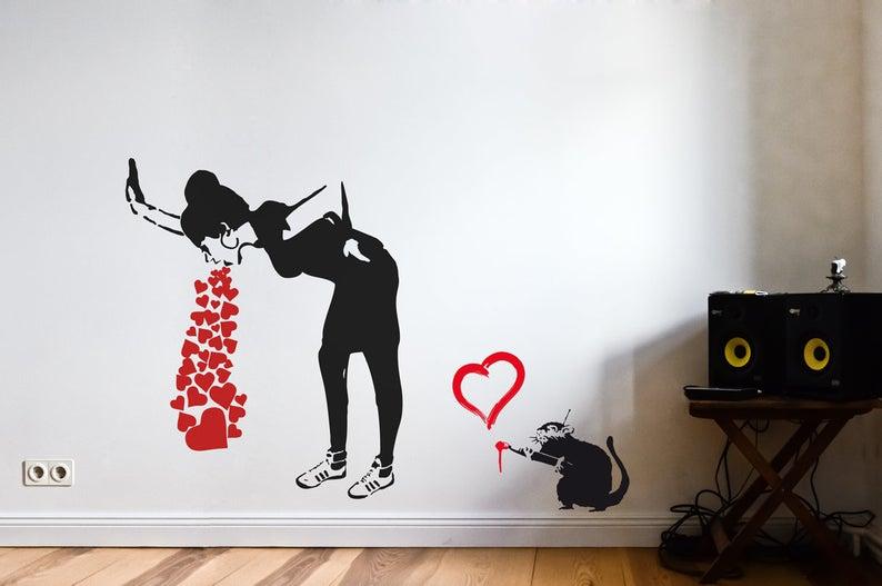 Banksy Love Sick Wandtattoo Streetart Wandsticker Graffiti Etsy Graffiti Tapete Wandtattoo Streetart