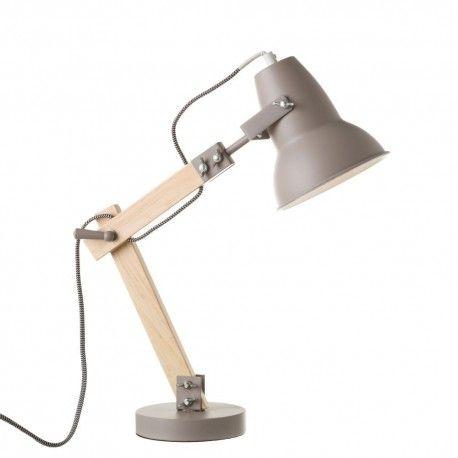 Lampe De Bureau Flexo Gris En Metal Et Bois Reglable Lampe De Bureau Bois Metal Bureau Bois Massif