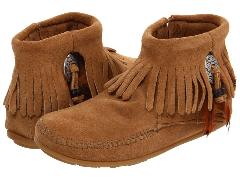 Minnetonka - Concho/Feather Side Zip Boot (Taupe Suede) Women's Pull-on