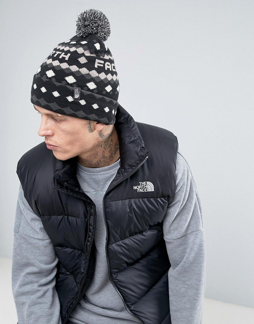 Get this The North Face s winter hat now! Click for more details. Worldwide  shipping. The North Face Tuke Bobble Beanie Logo Diamond in Black - Black   Hat ... dd2a3da0c982
