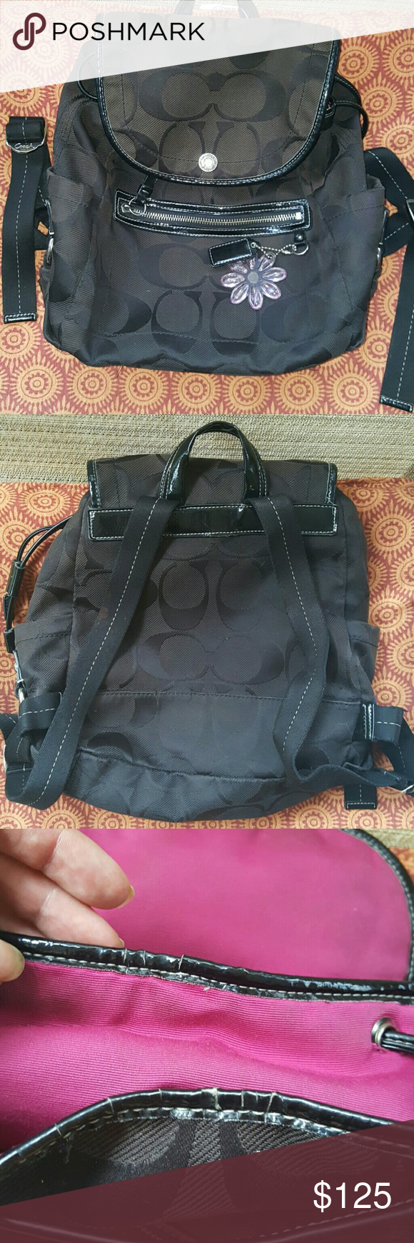 Coach back pack Will will post information a little later. I just figured my followers would want to see it as soon as possible. The only thing I can find wrong with it is the cracking around lining at the top. Barely noticeable.  Measurements: 10.5 x 11.5 x 5 in. Coach Bags Backpacks